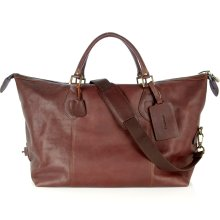 Barbour Chocolate Leather Weekend Bag