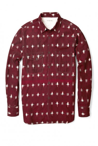 Universal Works weave patterned work shirt
