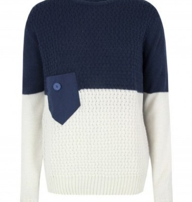 Humor Blue and White Mens Knit