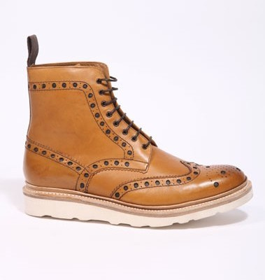 Grenson Tan Fred Brogue Boots