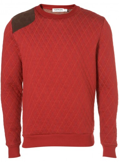 Topman Red Quilted Sweatshirt