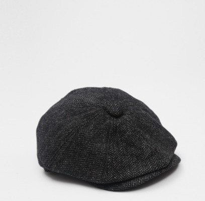 Penfield Hoyt Black Tweed Flat Cap