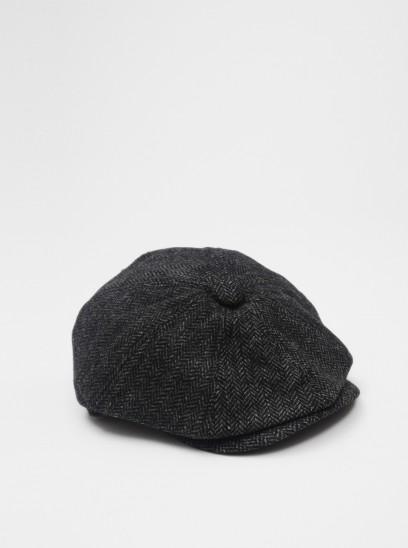 Penfield Hoyt Black Tweed Flat Cap