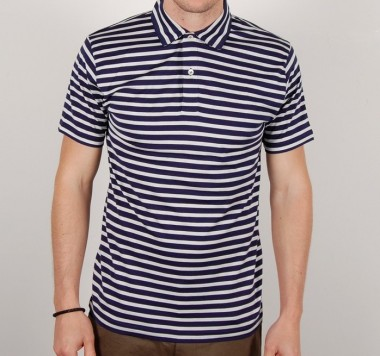 Sunspel Navy and White Stripe Polo