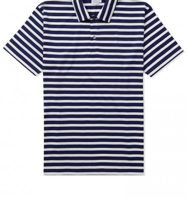 Sunspel Marine Stripe Polo Shirt