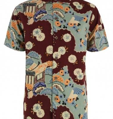 YMC Hawaiian Burgandy Shirt