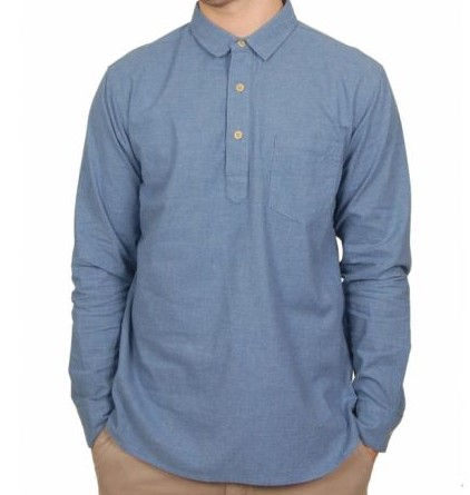 YMC Blue Half Buttoned Down Shirt