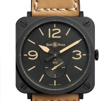Bell & Ross Tan Square BRS Watch