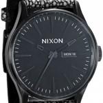 Nixon sentry black pebble leather watch