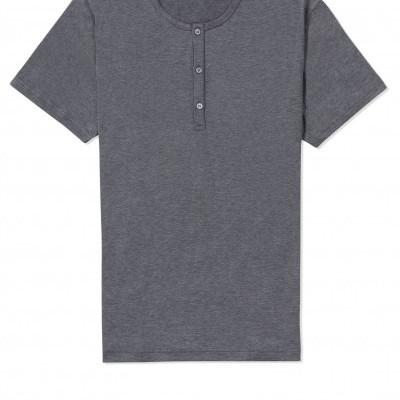 Sunspel Grey Grandad Collar T Shirt