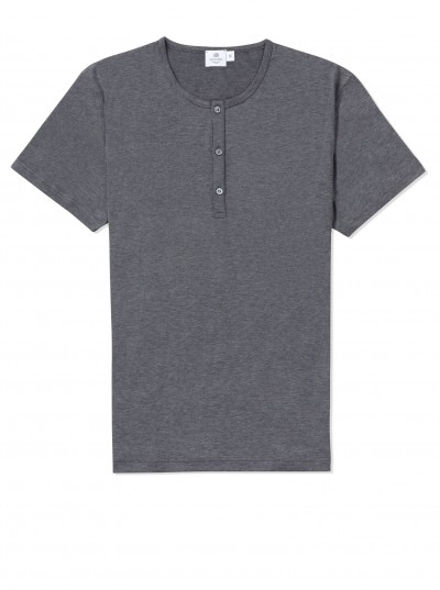 Sunspel Grey Grandad Collar T Shirt