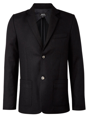 APC black herringbone mens slim blazer