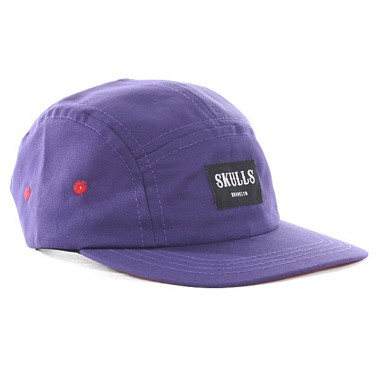 Skulls purple 5 panel mens cap