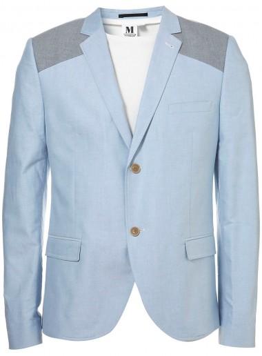 Topman Oxford Blue Slim Blazer