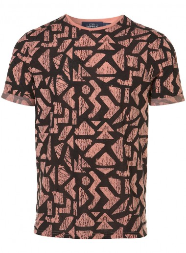 Topman Pink and Black Patterned T Shirt