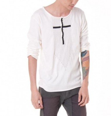 YoureyesLie long sleeved cross T Shirt