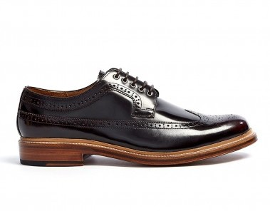 Grenson burgundy polished mens brogues