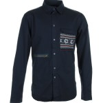 Humor Navy Aztec detail mens shirt