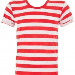 Joy red and white striped mens T Shirt