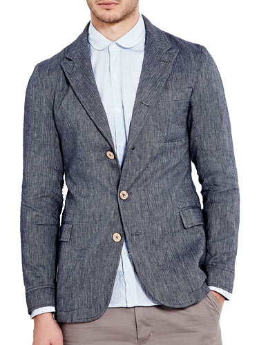 Oliver Spencer Indigo cotton mens blazer